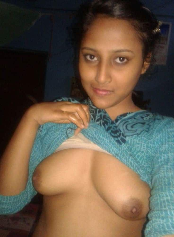 naughty bcom student topless selfies showing plump tits 003