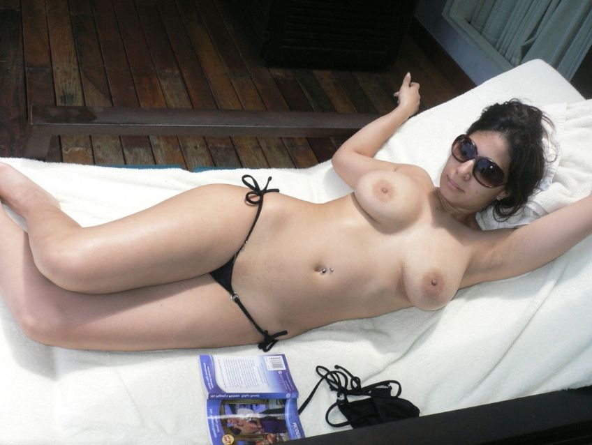 working wife enjoying nude sunbathing during business trip 005